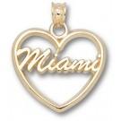 "Miami (Ohio) RedHawks ""Miami"" Heart Pendant - 14KT Gold Jewelry"