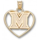 "Miami Hurricanes New ""M"" Heart Pendant - 14KT Gold Jewelry"