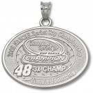 Jimmie Johnson #48 2008 NASCAR 3X Sprint Cup Champion Oval Pendant - Sterling Silver Jewelry