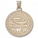 Jimmie Johnson #48 2009 NASCAR 4X Sprint Cup Champion Round Pendant - 10KT Gold Jewelry