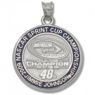 "Jimmie Johnson #48 3/4"" 2009 NASCAR 4X Spring Cup Champion Enameled Pendant - Sterling Silver Jewelry"