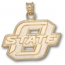 "Oklahoma State Cowboys 5/8"" Block ""O"" Pendant - 10KT Gold Jewelry"
