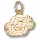 "Oklahoma State Cowboys New Block ""O State"" 3/8"" Charm - 14KT Gold Jewelry"
