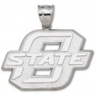 "Oklahoma State Cowboys Giant 1 7/8"" W x 1 1/4"" H ""O State"" Pendant - Sterling Silver Jewelry"