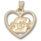 "Oklahoma State Cowboys ""O State"" Heart Pendant - 14KT Gold Jewelry"