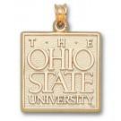 "Ohio State Buckeyes ""The Ohio State University"" Square Pendant - 14KT Gold Jewelry"
