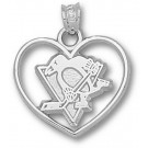 """Pittsburgh Penguins """"Penguin Heart"""" Pendant - Sterling Silver Jewelry"""