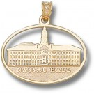 "Princeton Tigers Pierced Oval ""Nassau Hall"" Pendant - 10KT Gold Jewelry"