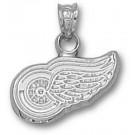"""Detroit Red Wings 3/8"""" Logo Pendant - 14KT White Gold Jewelry"""