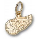 """Detroit Red Wings """"Wing Logo"""" 1/4"""" Charm - 14KT Gold Jewelry"""
