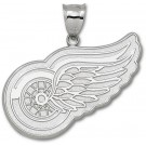 """Detroit Red Wings Giant 2"""" W x 1 5/8"""" H """"Wing Logo"""" Pendant - Sterling Silver Jewelry"""