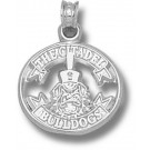 """Citadel Bulldogs """"Citadel Ribbon with Spike"""" 5/8"""" Pendant - Sterling Silver Jewelry"""
