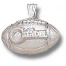 "Citadel Bulldogs ""Citadel Football"" Pendant - Sterling Silver Jewelry"