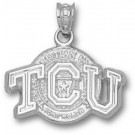 "Texas Christian Horned Frogs ""TCU with Seal"" Pendant - Sterling Silver Jewelry"