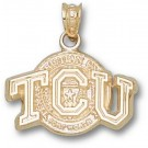 "Texas Christian Horned Frogs ""TCU with Seal"" Pendant - 14KT Gold Jewelry"