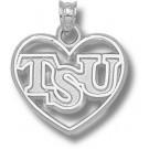 "Troy State Trojans ""TSU"" Heart Pendant - Sterling Silver Jewelry"