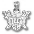 "Troy State Trojans 1/2"" ""Troy Trojans"" Pendant - Sterling Silver Jewelry"