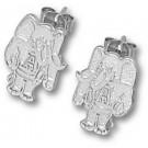 """Alabama Crimson Tide 1/2"""" Al Elephant Post Earrings - Sterling Silver Jewelry"""