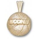 "Connecticut Huskies 1/8"" ""UConn Basketball"" Pendant - 14KT Gold Jewelry"