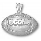 """Connecticut Huskies """"UConn Football"""" Pendant - Sterling Silver Jewelry"""