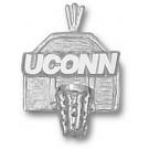 "Connecticut Huskies ""UConn Basketball Backboard"" Pendant - Sterling Silver Jewelry"