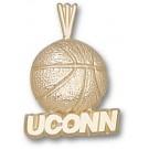"Connecticut Huskies 3/16"" ""UConn Basketball"" Pendant - 14KT Gold Jewelry"