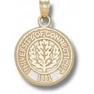 "Connecticut Huskies ""Oakleaf Seal"" Pendant - 14KT Gold Jewelry"
