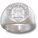 "Georgia Bulldogs ""Seal"" 5/8"" Men's Ring - Sterling Silver Jewelry (Size 10 1/2)"