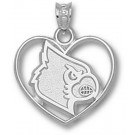 "Louisville Cardinals ""Cardinal Head"" Heart Pendant - Sterling Silver Jewelry"