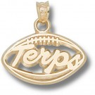 "Maryland Terrapins ""Terps Pierced Football"" Pendant - 10KT Gold Jewelry"