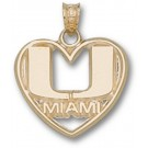 "Miami Hurricanes ""U Miami Heart"" Pendant - 10KT Gold Jewelry"