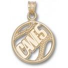 "Miami Hurricanes ""Canes Pierced Baseball"" Pendant - 10KT Gold Jewelry"