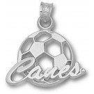 "Miami Hurricanes ""Canes Soccerball"" Pendant - Sterling Silver Jewelry"