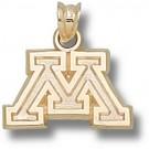 "Minnesota Golden Gophers Block ""M"" Pendant - 14KT Gold Jewelry"