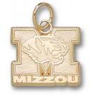 """Missouri Tigers 1/2"""" """"M Mizzou Tiger Head"""" Charm - 10KT Gold Jewelry"""