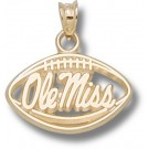 "Mississippi (Ole Miss) Rebels ""Ole Mississippi Pierced Football"" Pendant - 10KT Gold Jewelry"
