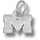 "Mississippi (Ole Miss) Rebels 1/4"" Block ""M"" Charm - Sterling Silver Jewelry"