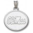 "Mississippi (Ole Miss) Rebels Oval ""Ole Miss"" Pendant - Sterling Silver Jewelry"