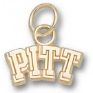 """Pittsburgh Panthers 1/4"""" """"Pitt"""" Charm - 10KT Gold Jewelry"""