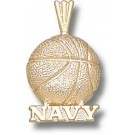 "Navy Midshipmen ""Navy Basketball"" Pendant - 14KT Gold Jewelry"