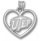 "Texas (El Paso) Miners ""UTEP and Heart"" Pendant - Sterling Silver Jewelry"