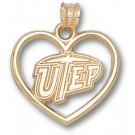 """Texas (El Paso) Miners """"UTEP and Heart"""" Pendant - 14KT Gold Jewelry"""