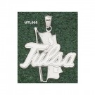 "Tulsa Golden Hurricane Giant 1 1/2"" W x 1 1/2"" H ""Tulsa Flag"" Pendant - Sterling Silver Jewelry"
