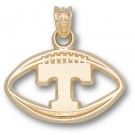 """Tennessee Volunteers """"T Pierced Football"""" Pendant - Gold Plated Jewelry"""