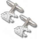 """Washington State Cougars 9/16"""" """"WSU Cougar Head"""" Sterling Silver Cuff Links - 1 Pair"""