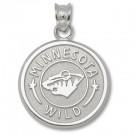 "Minnesota Wild 5/8"" Circle Logo Pendant - Sterling Silver Jewelry"