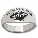 Minnesota Wild Logo Men's Enamel Sterling Silver Band Ring (Size 10)