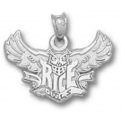 """Rice Owls """"Rice Flying Owl"""" Pendant - Sterling Silver Jewelry"""