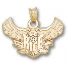 """Rice Owls """"Rice Flying Owl"""" Pendant - 14KT Gold Jewelry"""