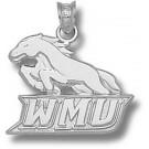 "Western Michigan Broncos ""WMU with Bronco"" 5/8"" Pendant - Sterling Silver Jewelry"